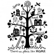 S0812-Home-Sweet-Home-Tree-Unmounted-Stamp